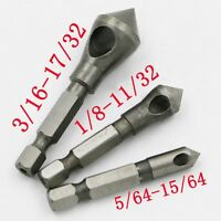 1/4 3PCS Countersink Chamfer Drill Bit Chisel Hex Shank Deburring Hole Cutter