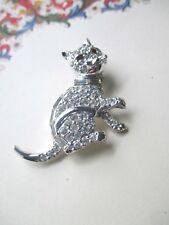 Vintage Cat Kitty Pin Brooch Rhodium Plated Rhinestone Pave Black Glass Eyes