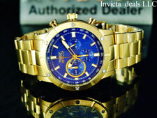 NEW Invicta Men's 47mm Specialty Chronograph 18K Gold Plated BLUE Dial SS Watch