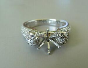 PLATINUM  DIAMOND ENGAGEMENT RING 8.6 GR SEMI MOUNT 0.79 CTW NICE