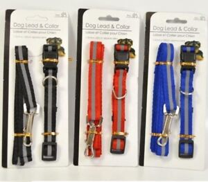 Small Dog Puppy Collar and Lead / Leash Set in 3 Colours  Adjustable Paw Design