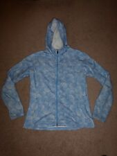 The North Face women's blue/white polka dot print full-zip hoodie jacket Sz L