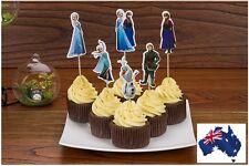 12 X FROZEN CUPCAKE JELLY TOPPER Anna Elsa 6 new designs *Children Party FUN*