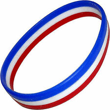 France French Flag Rubber Silicone Wristband Bracelet Bangle Mens Ladies Jewelry