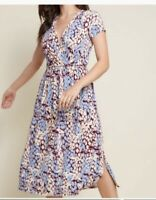 🦋EUC Modcloth Size M Easily Adored Giraffe print Cap Sleeve Surplice Dress