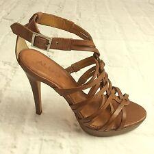 Aldo Women 8.5 High Heels Brown Strappy Open Toe Ankle Strap Made in Brazil S1