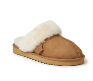 NWB - $69 Dearfoams Sydney Water Resistant Genuine Shearling Scuff Brown Slipper