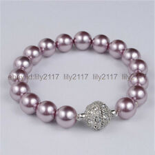 New 10mm Purple South Sea Shell Pearl Beads Crystal Clasp Bangle Bracelet