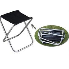 Outdoor Hiking Foldable Folding Stool Chair Picnic Camping Aluminium Chair Black