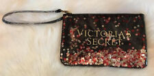 Victoria's Secret Wristlet Travel Make-up Bag Zipper Pouch Logo Sequin Black NEW