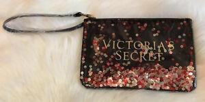 Victoria's Secret Wristlet Travel Make-up Bag Zipper Pouch Logo Sequin Black NEW