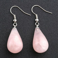 Fashion Rose Quartz Gemstone Teardrop Dangle Ear Stud Drop Copper Hook Earrings