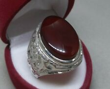 Natural Yemeni Khabadi Brown Aqeeq Sterling Silver 925 Carneliana Handmade Ring