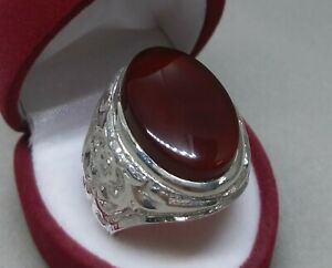 Natural Yemeni Khabadi Brown Aqeeq Sterling Silver 925 Carnelian Handmade Ring