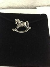 Rocking Horse R70 Pewter Pendant on a  BLACK CORD  Necklace