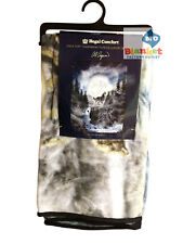 Moon Wolf Howling Wolves Water Faux Fur Cashmere Fleece Luxury Blanket Throw
