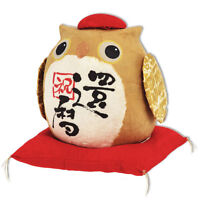 "Japanese Paper-Mache Wish Making Owl ""Kanreki"" Figurine for Health & Longevity"