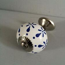 WHITE BLUE PATTERN DRAWER PULL Ceramic Door Knob Handle Kitchen Bedroom Decor