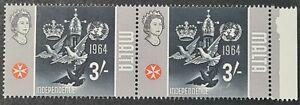 1965 Malta 3s pair + margin definitive issue ERROR Gold framework omitted SG345a