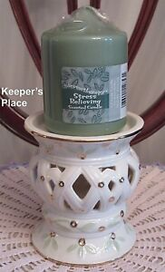 Avon Pillar Candle Holder Cream Porcelain Open Lattice Gold + Green Candle