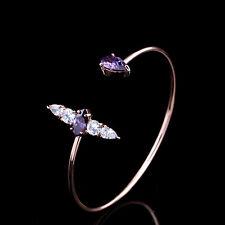 Beautiful Purple Zircon White Rhinestones Rose Gold Plated Open Bangle Bracelet