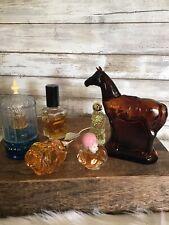 Lot of 6 Vintage Avon Glass Perfume Bottles Amber Horse Rose Pig Seahorse