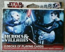 New & Sealed 2 DECKS OF STAR WARS HEROES & VILLAINS CLONE WARS FREE Shipping