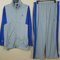 NIKE AIR JORDAN FLIGHT BASKETBALL SUIT JACKET + PANTS GREY BLUE (SIZE 2XL / 3XL)