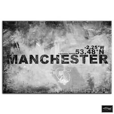Manchester UK   City Typography BOX FRAMED CANVAS ART Picture HDR 280gsm