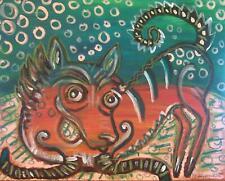 Xoloitzcuintli with Bubbles Folk Art Print 13x19 Dog Collectible by Artist KSams