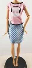 New Tall Barbie Doll Fashionistas Jean Pokadot Skirt  Fashion Pink Cat Shirt