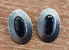 Classic!!! WHITING & DAVIS Vintage Silvertone & Hematite Oval Clip-on Earrings
