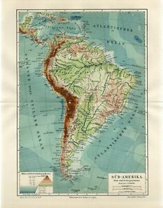 1898 SOUTH AMERICA RIVERS MOUNTAIN SYSTEM Antique Map