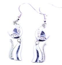 hyper cute silver tone kitty cat kitten dangle earrings