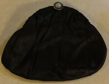 VINTAGE BLACK SATIN GRACELINE HAND BAGS CLUTCH PURSE WITH JEWELED SNAP CLOSURE
