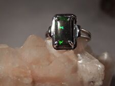 1.77 Ct. Emerald Cut Ethiopian Black Opal Sterling Silver Ring