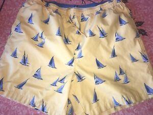 Nautica ~ Vtg Men's Swim Trunks Swim Suit Shorts Sail Boats Yellow 1990's ~ L