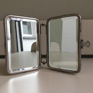 Vintage Art Deco 1930s Small Twin Folding Travel Bathroom Mirror Bevelled Glass