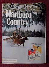 1973 Print Ad Marlboro Man Cigarettes Western Cowboy ~ Horse Chase Through Snow