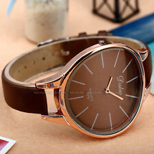 Quartz Wrist Watch For Women Lady Beauty Brown Leather Bend Case Slim Bracelet