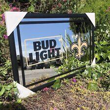 Bud Light Nfl New Orlean Saints Football Beer Bar Mirror Man Cave Pub