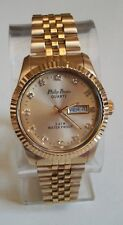 MEN'S GOLD FINISH DAY/DATE FASHION INSPIRED STYLE DRESSY/CASUAL WATCH