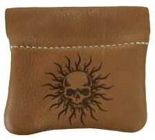 New Leather Skull Burst Squeeze Coin Pouch Change Purse USA Made