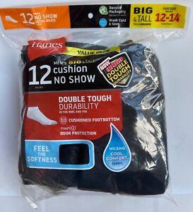 Hanes BIG & TALL 12 Pair Double Tough Black No Show Socks Shoe Size 12-14