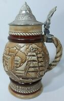 Vintage Avon Sailing Ships Beer Stein, Made in Brazil in 1977 With Pewter Lid