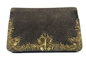 Antique Sterling Silver Cherub Brown Leather Bifold Coin Wallet