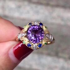 3Ct Amethyst Sapphire Emerald Syn Diamond Engagement Ring Yellow Gold Fns Silver