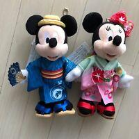 Tokyo Disney Resort Mickey & Minnie Mouse badge chain Plush Doll Kimono Japan