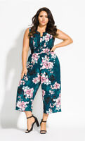 NWT CITY CHIC Jade Blossom Jumpsuit - size 24 - size XXL - RRP $139.95