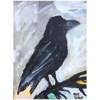 Matt Scalf Crow Raven Bird Expressionism ORIGINAL PAINTING Acrylic on Paper 9x12